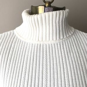 Vtg 90s Liz Sport turtleneck M cream
